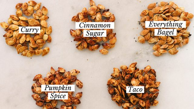 5 different roasted pumpkin seed flavors
