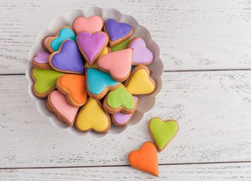 colorful royal icing heart cookies