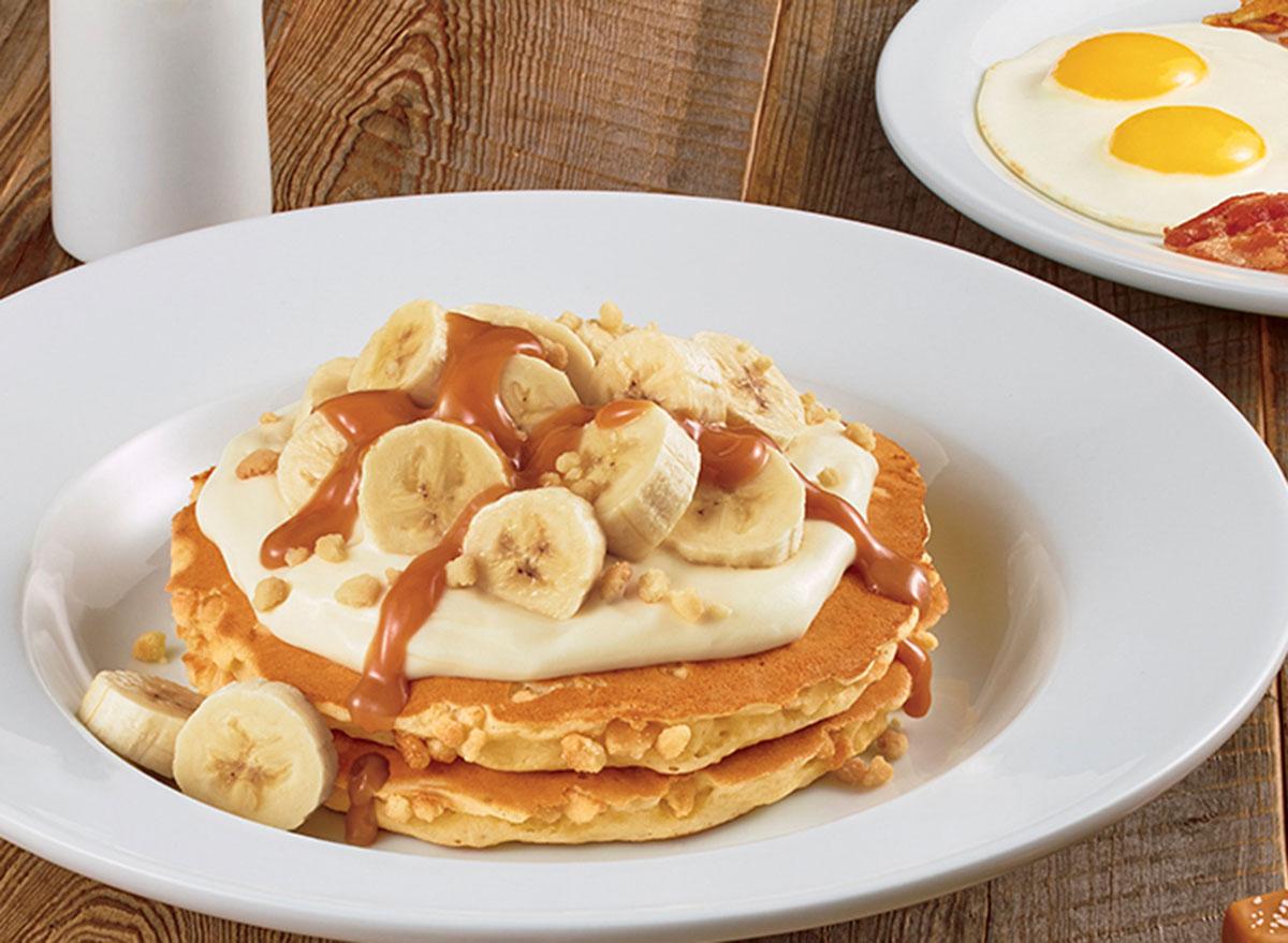salted caramel banana cream pancake from Dennys