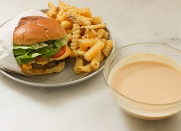 Shake shack sauce recipe with copycat burger and crinkle cut fries