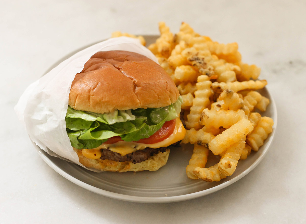 Copycat shake shack burger with crinkle cut fries to enjoy at home