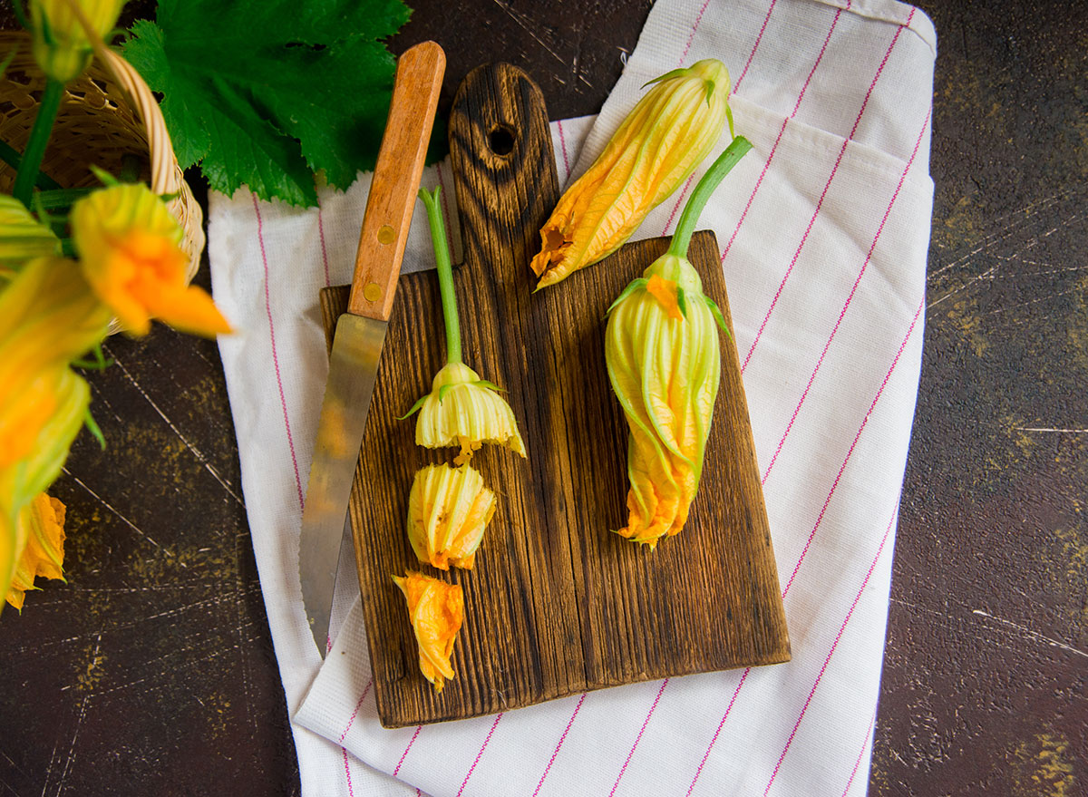 squash blossoms cutting board