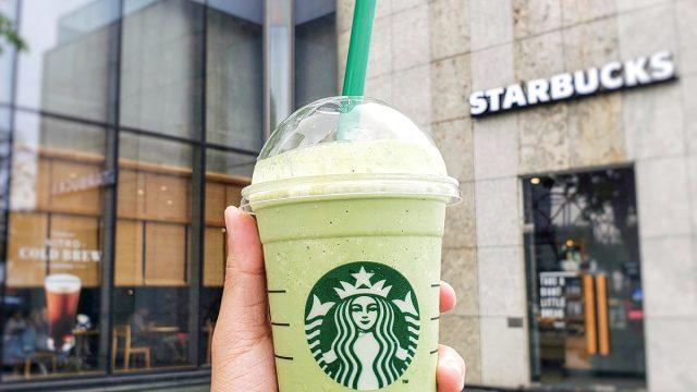 Starbucks matcha blended drink outside of store location