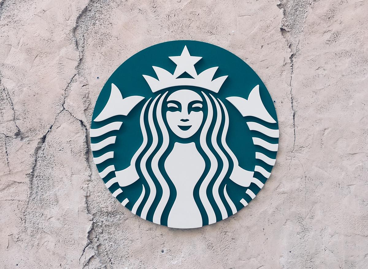 Large Starbucks logo on a wall