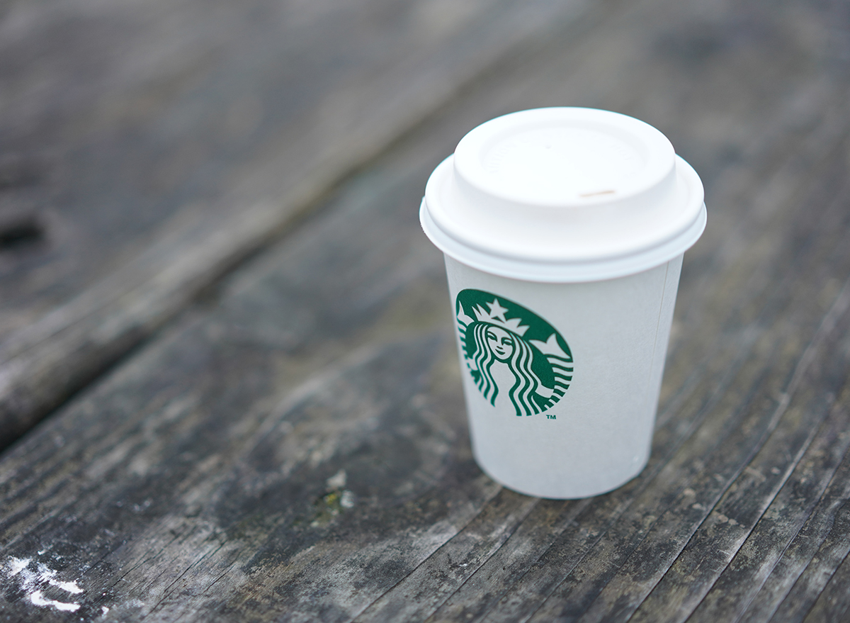 Starbucks short disposable cup on a table