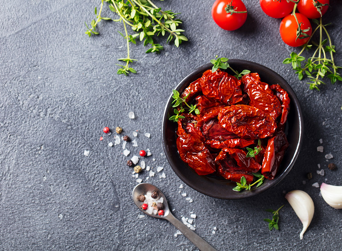 sun dried tomatoes in bowl with seasoning