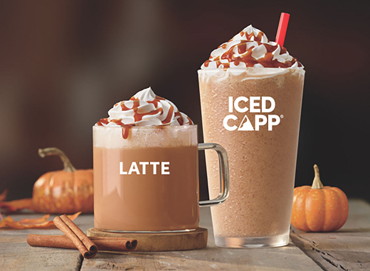 tim hortons pumpkin spice iced cappuccino and latte
