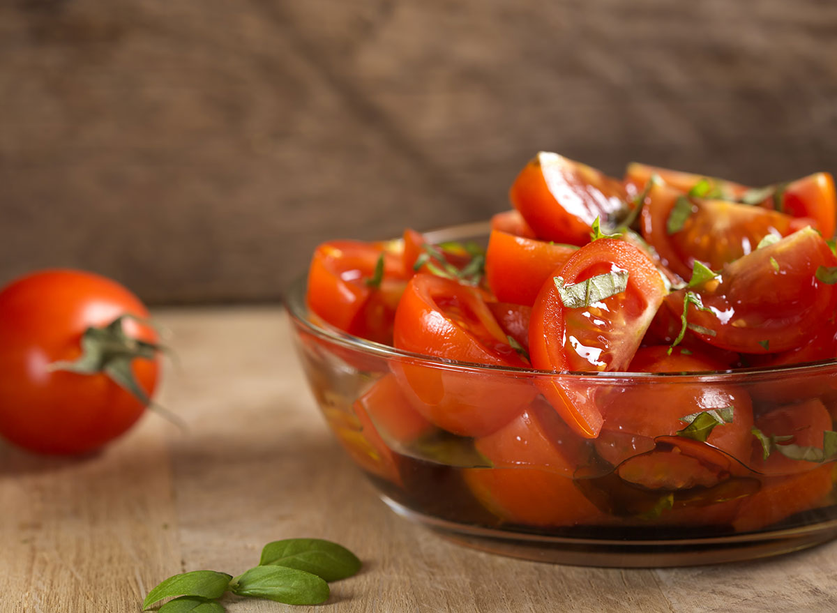 tomato salad in a glass bowl