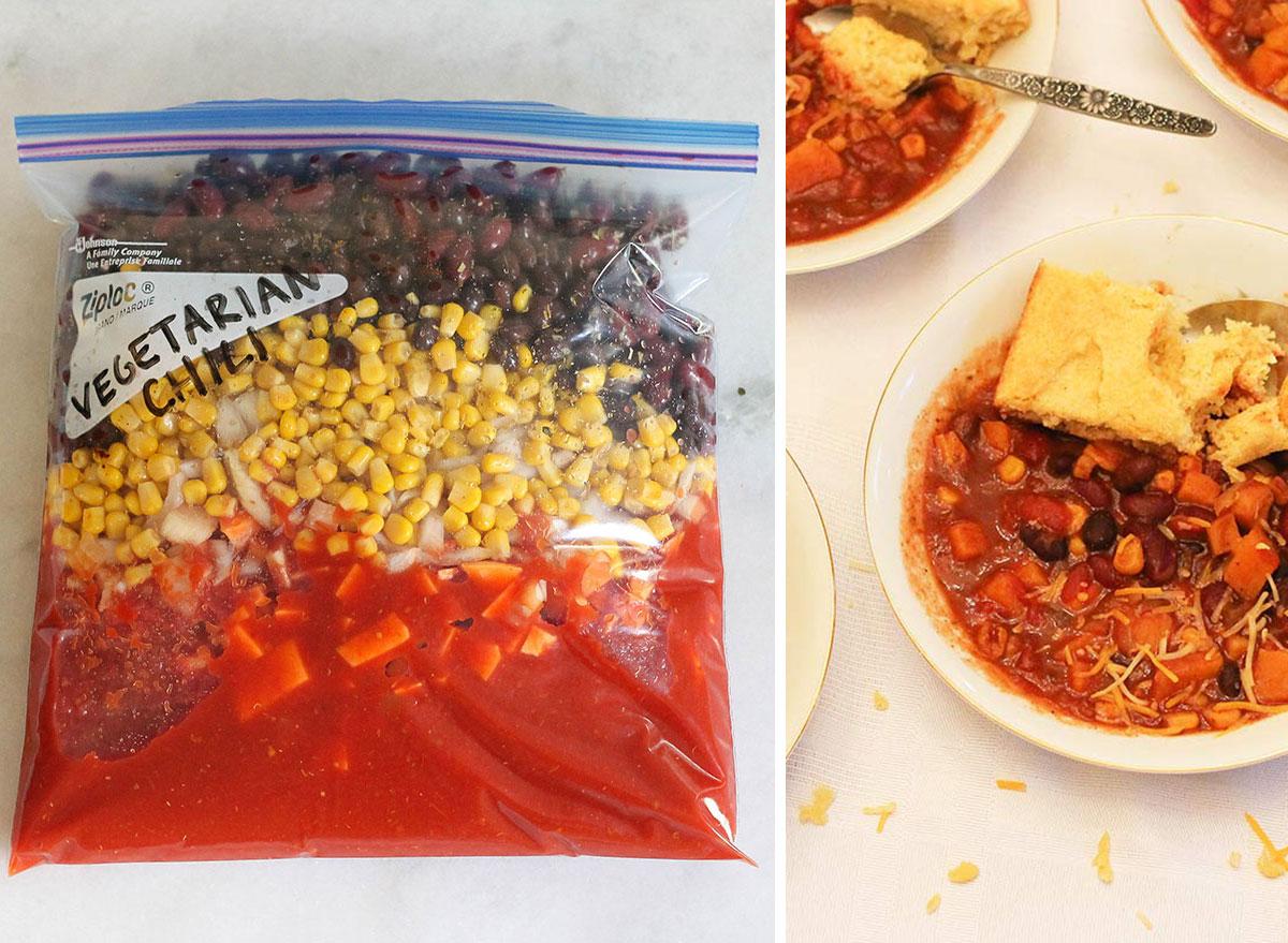 Crock pot freezer meal vegetarian chili