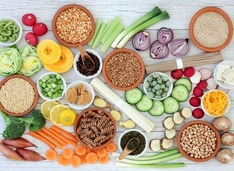 Foods on a table for a macrobiotic diet