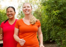 Women walking and exercising smilling and happy