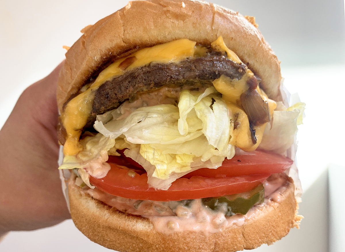 Animal burger with similar toppings as animal fries at In-n-Out