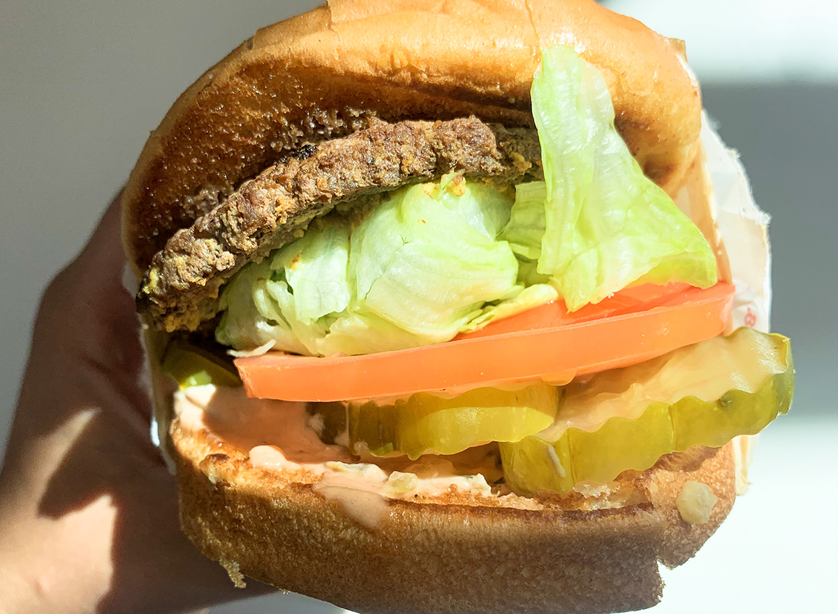 Mustard grilled patty on a burger at In-n-Out