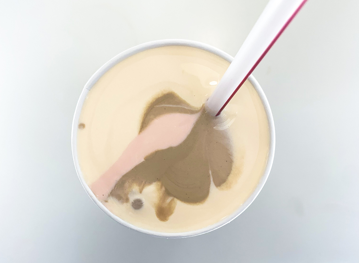 Neapolitan shake from In-n-Out with chocolate, vanilla, and strawberry flavors