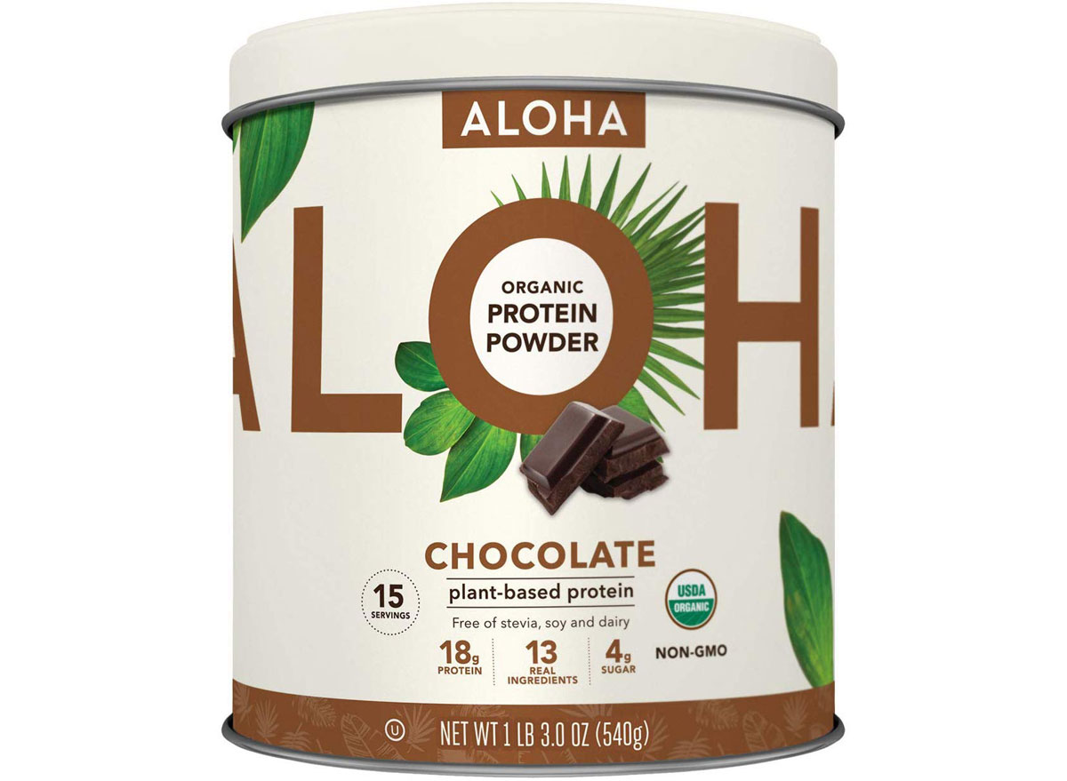 ALOHA chocolate plant based protein powder container