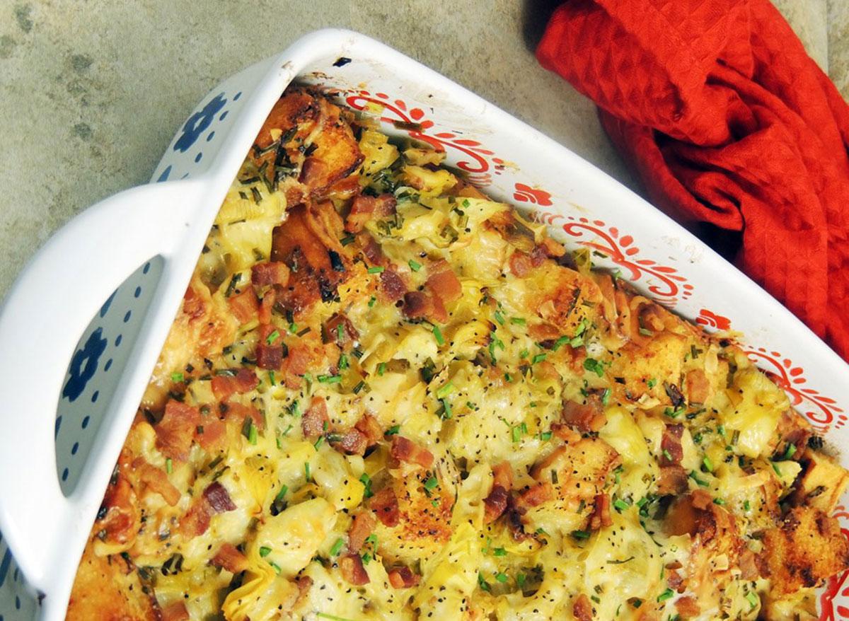 bacon leek artichoke casserole in baking dish