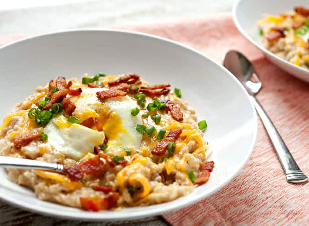 bacon savory oatmeal with spoon