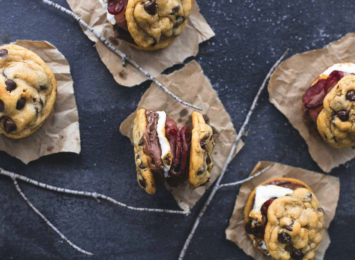 chocolate chip cookie smores with bacon