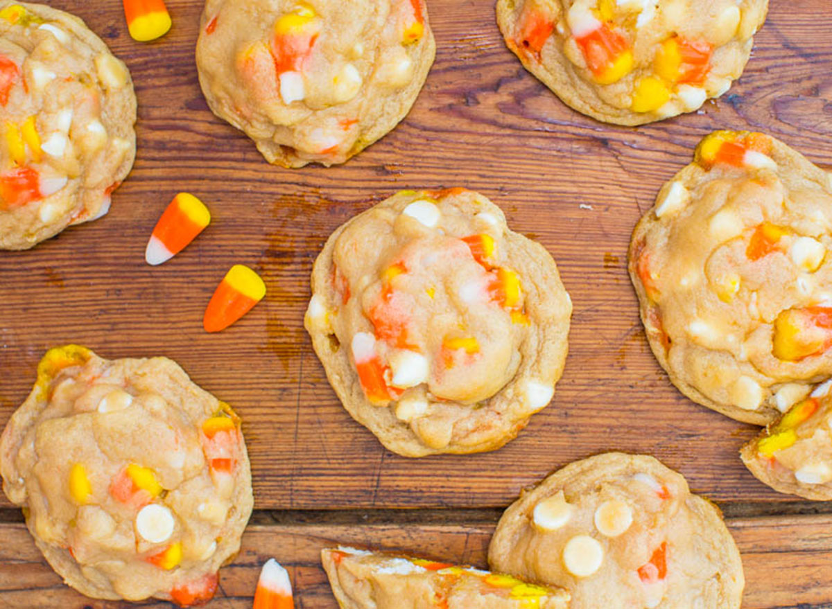 candy corn cookies on table