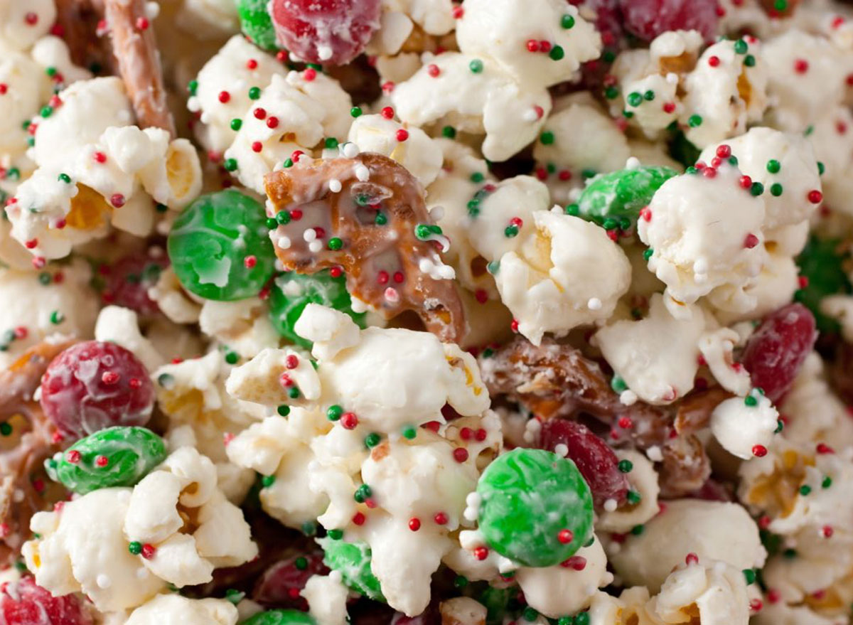 candy popcorn mix with pretzels and sprinkles