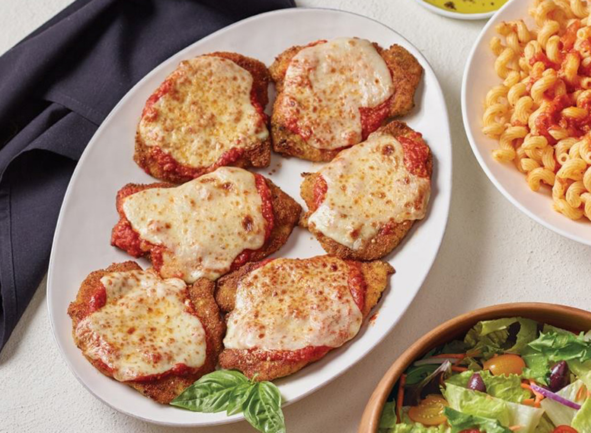 carabbas chicken parmesan on white plate