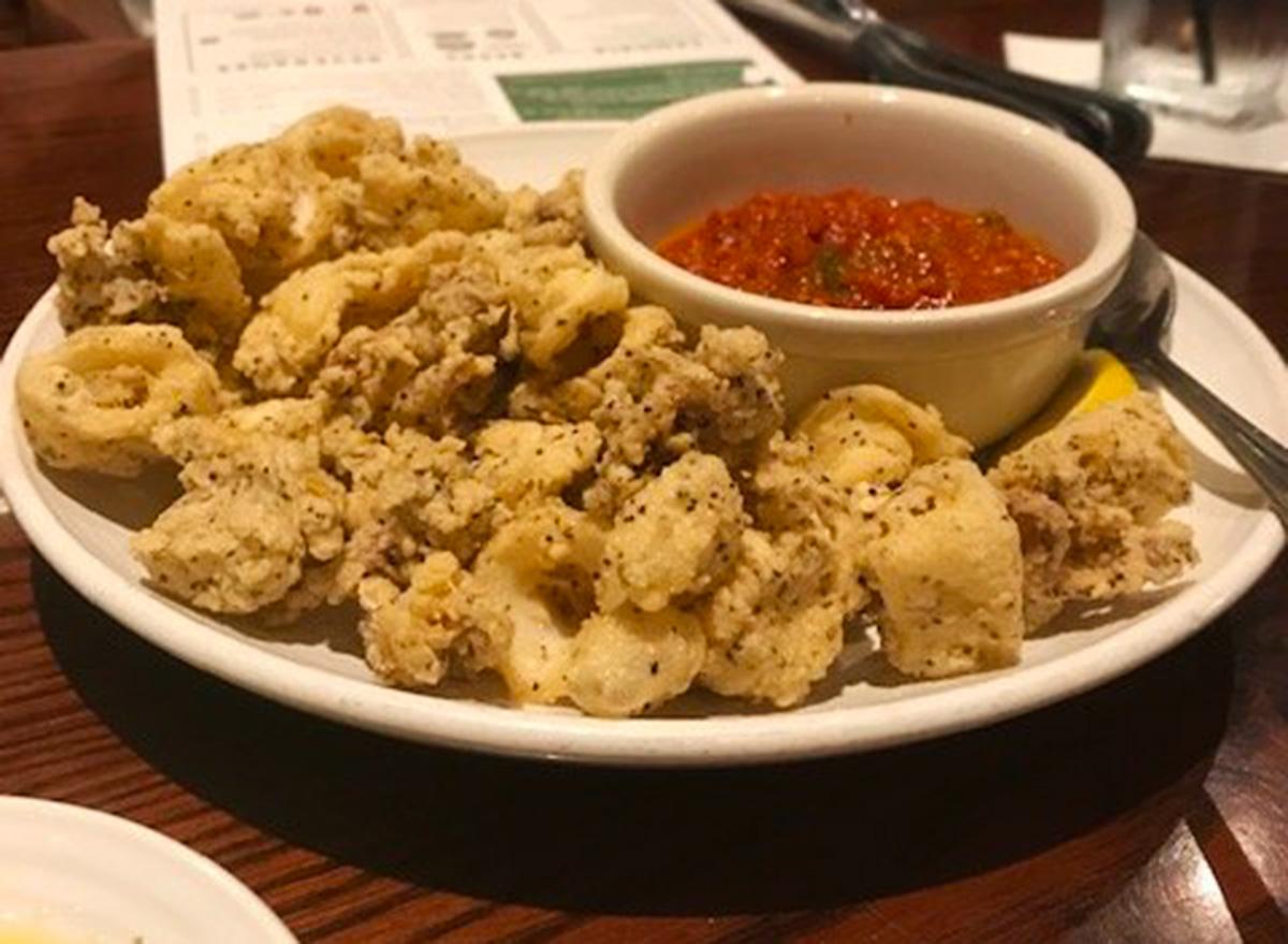 carrabbas calamari marinara on white plate