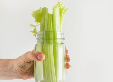 Celery stored in a jar with water