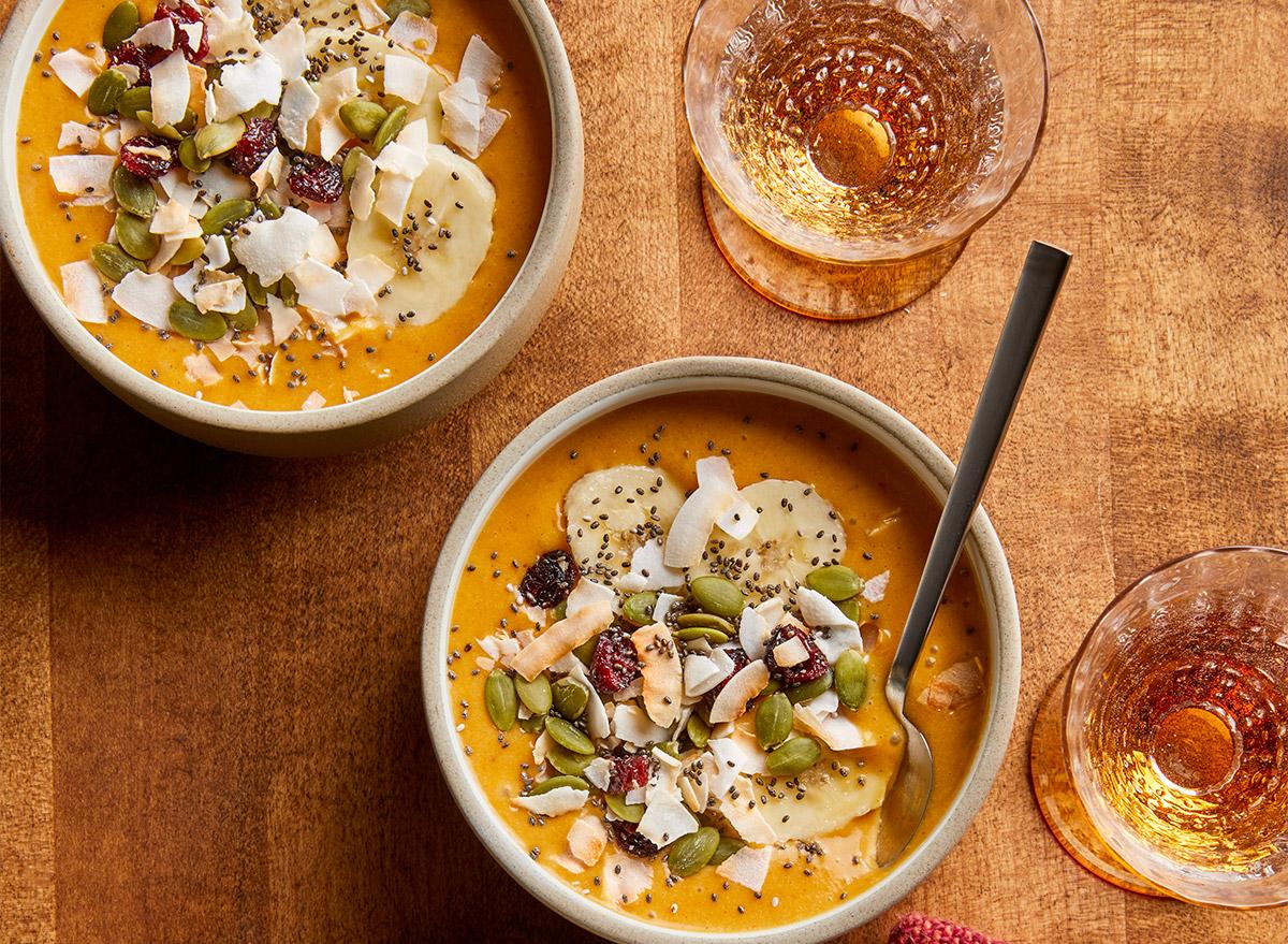 cocnut pumpkin smoothie bowls