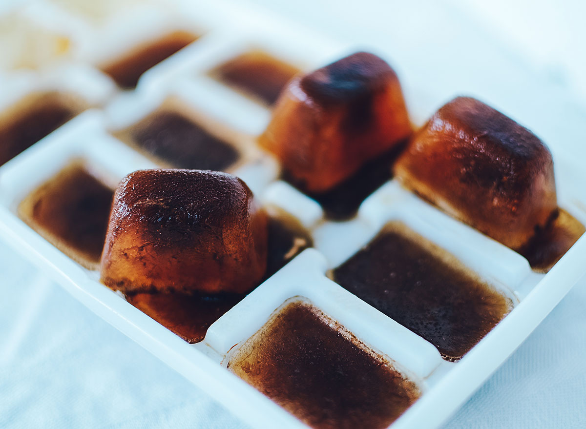 Coffee ice cubes ready for iced coffee