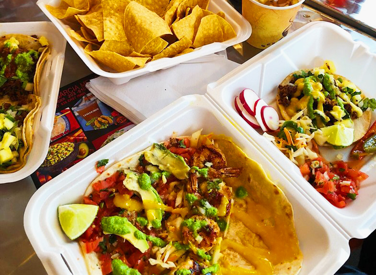 connecticut los garcia mexican fusion tacos in takeout boxes