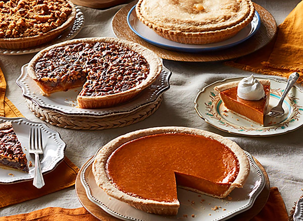 cracker barrel pies and pie slices pumpkin and pecan