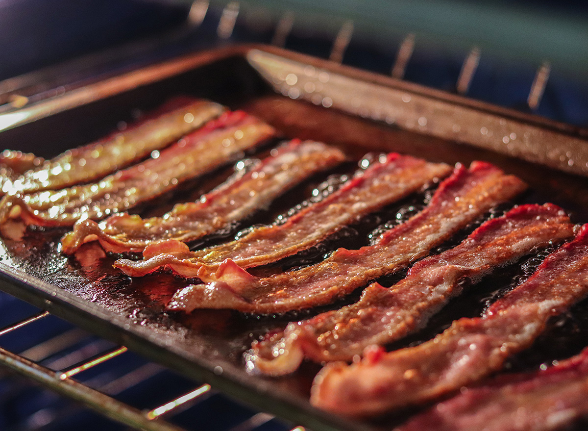 crispy bacon on a pan on grill