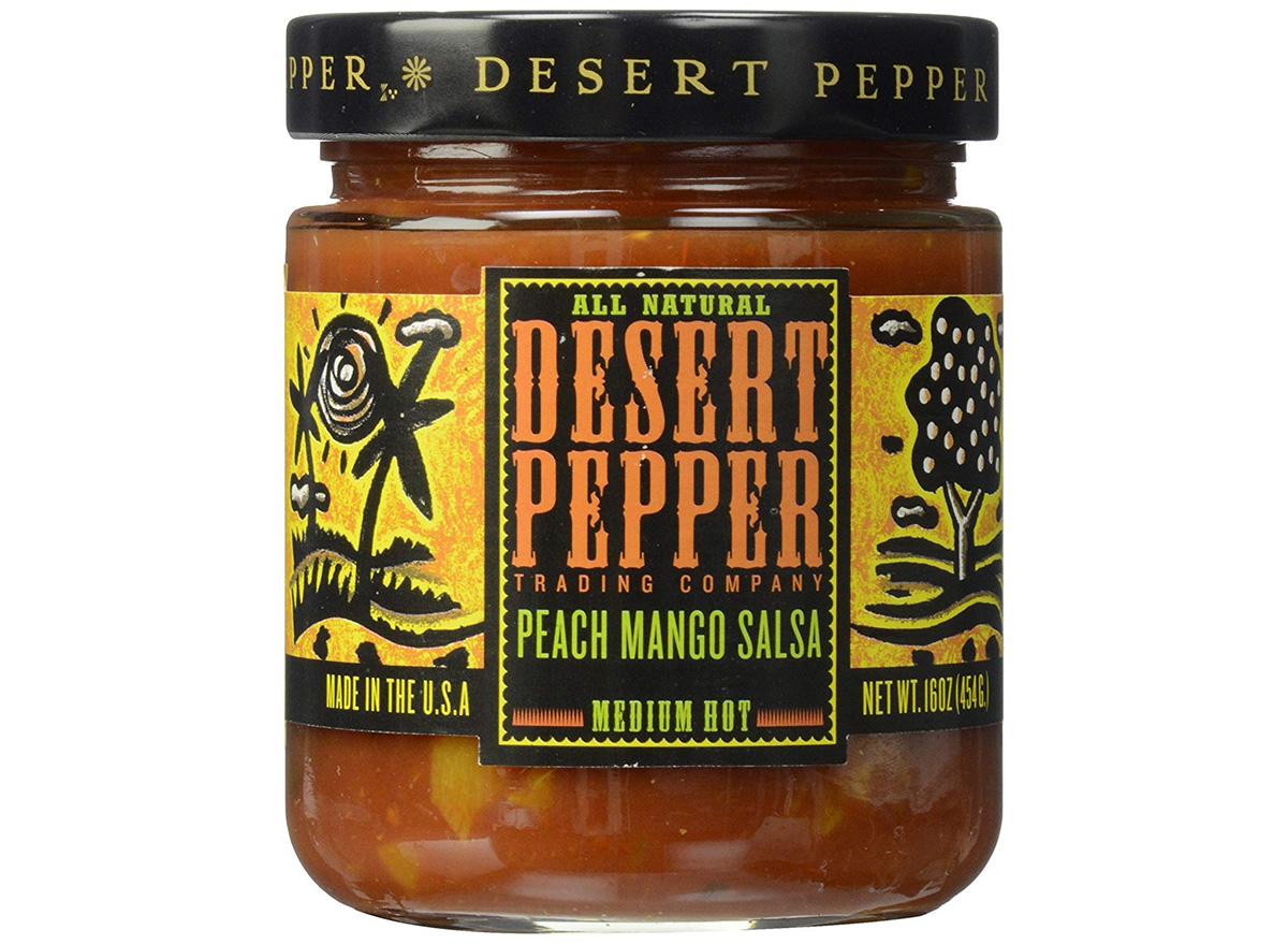 desert pepper peach mango salsa in jar