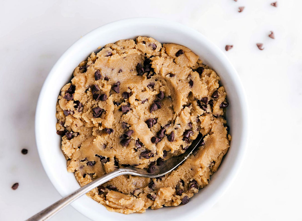 edible cookie dough in bowl with spoon