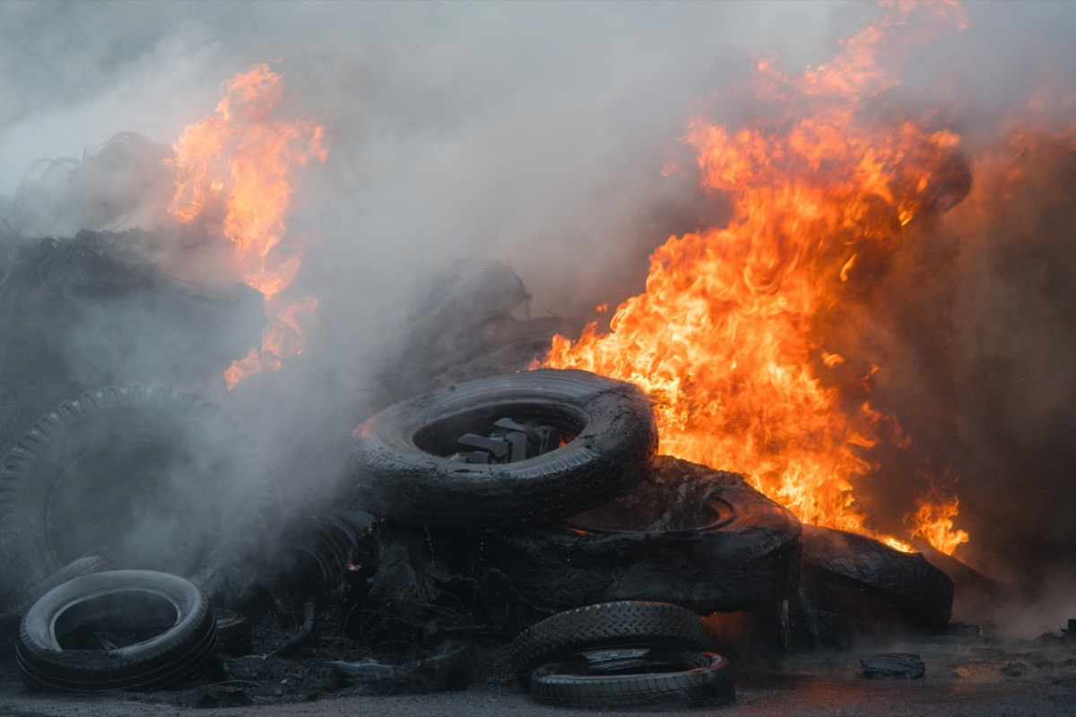 Fire, burning tires
