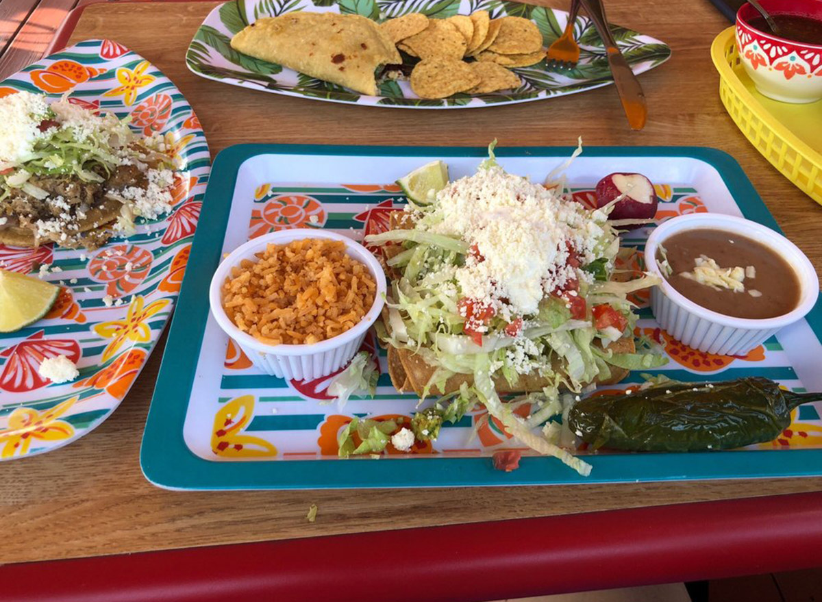 georgia tacos del chavo plate of enchiladas and rice