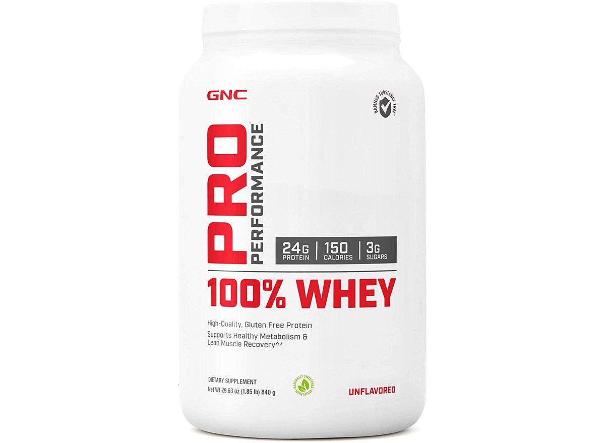 GNC pro performance 100 percent whey protein powder tub