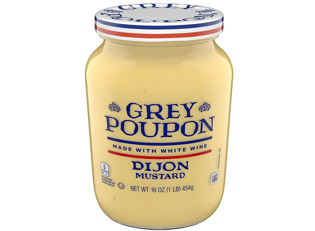 grey poupon dijon mustard in jar