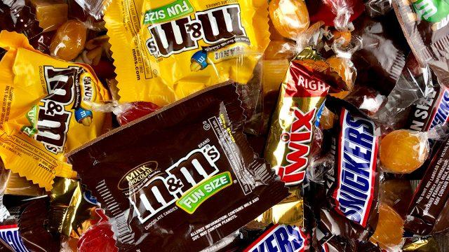assortment of halloween candy