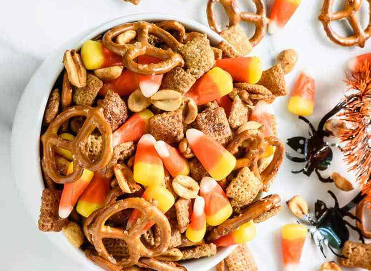 bowl of halloween chex mix