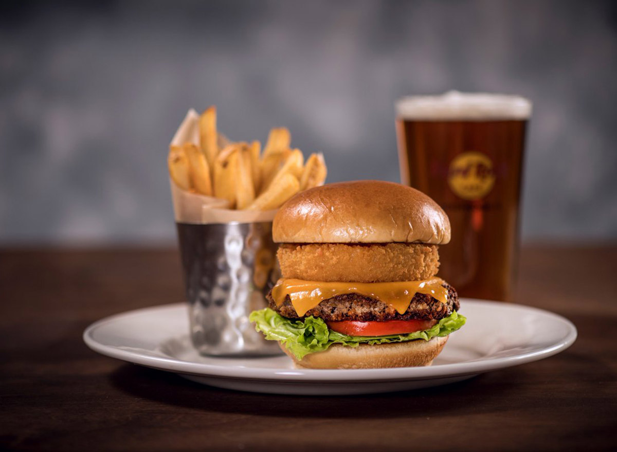 hard rock cafe impossible burger on plate with a side of fries