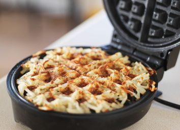 Hash browns made in a waffle irion