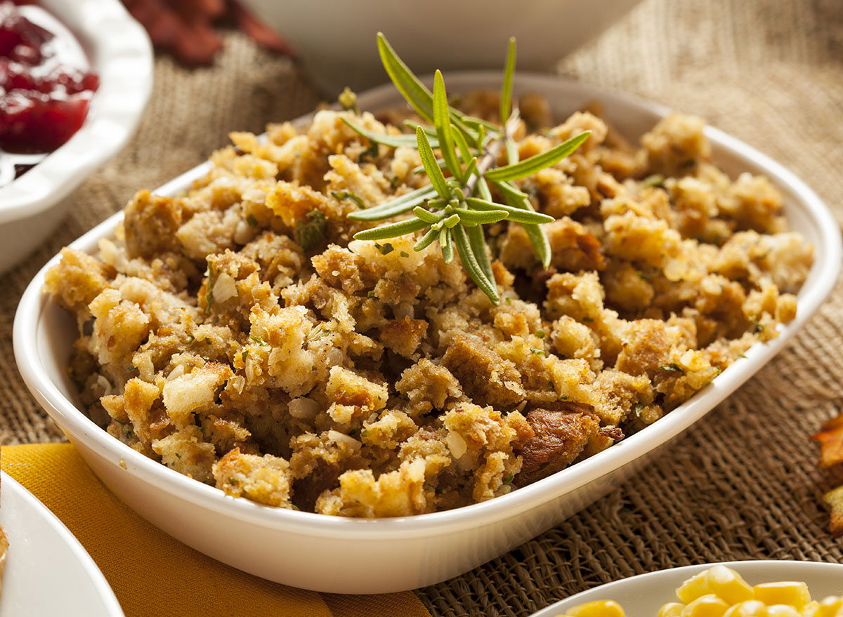 homemade stuffing with rosemary on top