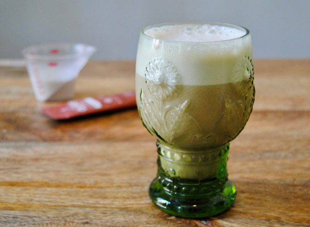 paleo iced coffee protein shake in glass