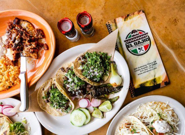 iowa el bajio mexican taco spread