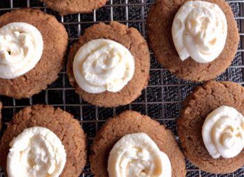 keto pumpkin cookies cream cheese frosting on cooling rack