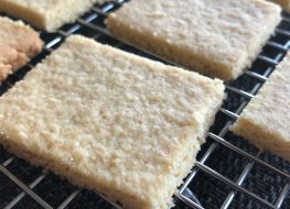 keto shortbread cookies on cooling rack