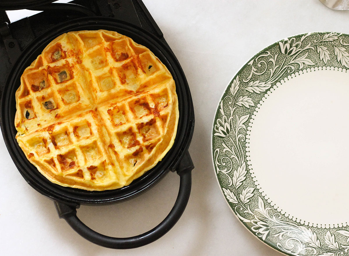 Finished keto waffle in the waffle maker