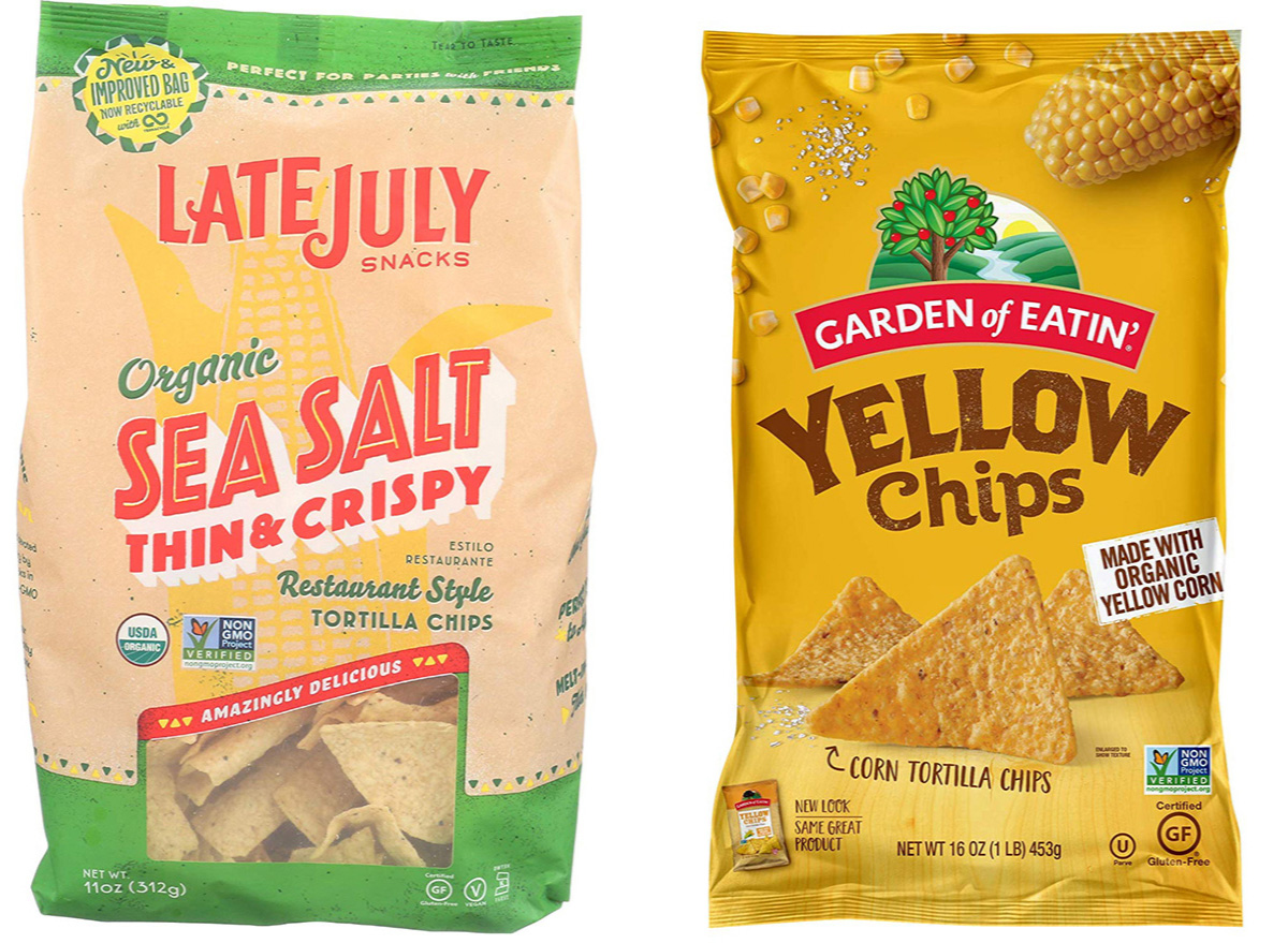 late july and garden of eatin tortilla chips in packaging