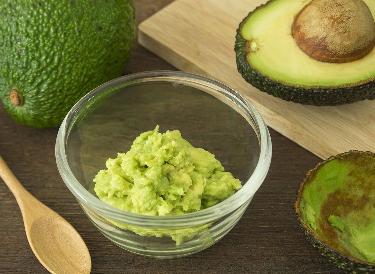 Mashed avocado in a bowl